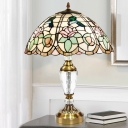 Domed Crystal Night Lamp 3 Bulbs Stained Glass Tiffany Style Pull Chain Nightstand Light in White with Flower and Bird Pattern