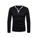 Men's Classic Button V-Neck Long Sleeve Simple Plain Slim Fitted Henley Shirt