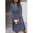 Navy Blue Popular Ditsy Floral Print Ruffled Stringy Selvedge Gathered Waist Notched Collar Bishop Long Sleeve Midi A-Line Dress for Women