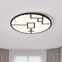 Nordic LED Flushmount Lighting with Acrylic Shade Black/White Round Flush Ceiling Light Fixture