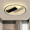 Round Metal Close to Ceiling Lighting Modern 16.5