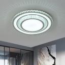 Simple Round Flush Ceiling Light Clear Crystal Living Room LED Flushmount Lighting in White, 14