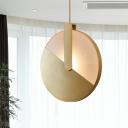 Metallic Circle Pendulum Light Contemporary LED Suspended Lighting Fixture in Gold
