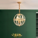 Globe Cage Hanging Pendant Light Simple Clear Crystal 1 Bulb Black/Gold Ceiling Suspension Lamp for Dining Room