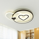 Nordic LED Flushmount Light Black Star/Loving Heart Ceiling Lamp with Acrylic Shade for Bedroom