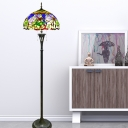 Domed Standing Floor Light Victorian Stained Glass 3 Heads Brass Flower and Dragonfly Patterned Floor Reading Lighting