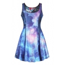Fashion 3D Blue Galaxy Pattern Reversible Scoop Neck Mini A-Line Tank Dress for Women