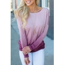 Sexy Womens Ombre Twist Open Back Boat Neck Long Sleeve Relaxed Fit T-shirt