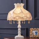 White Scalloped Table Light Contemporary 1 Bulb Fabric Night Lamp with Crystal Droplet