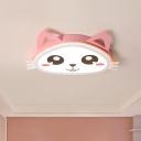 Cute Kitty Acrylic Flush Ceiling Light Cartoon Pink LED Flushmount Lighting in Warm/White Light