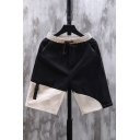 Popular Shorts Colorblock Pocket Drawstring Cuffed Mid Rise Regular Fit Shorts for Men