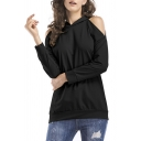 Unique Solid Color Cold Shoulder Kangaroo Pocket Long Sleeve Relaxed Fit Hoodie