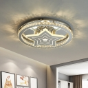Circular Bedroom Ceiling Light Beveled Crystal Modern LED Semi Flush Mount Fixture in Chrome with Star Design