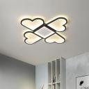Modern Loving Heart Ceiling Lamp Acrylic LED Bedroom Flush Mount Light Fixture in Black/Pink