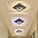 Minimalism LED Flush Mount Lighting Black Square Ceiling Lighting with Hand-Cut Crystal Shade