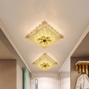LED Corridor Ceiling Fixture Modernism White Flush Lamp with Square Faceted Crystal Shade in Warm/White Light