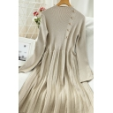 Boutique Womens Solid Color Knitted Ablique Pearl Button Long Sleeve Mock Neck Short A-line Dress