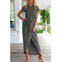 Glamorous Womens Solid Color Bow Tie Waisted Front Split High Low Hem Rolled Short Sleeve Crew Neck Long Asymmetric Dress