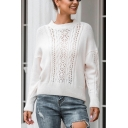 Stylish Womens Solid Color Long Sleeve Crew Neck Hollow Out Knit Loose Pullover Sweater