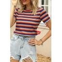 Fancy Ladies Stripe Printed Short Sleeve Crew Neck Slim Fit Knit T Shirt in Orange