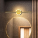 Streamlined Bathroom Vanity Lamp Metal LED Contemporary Sconce Lighting in Gold, 16