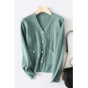 Popular Solid Color Pearl Button Long Sleeve V-neck Regular Fit Knitted Cardigan for Girls