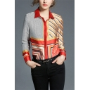 Trendy Womens Striped Polka Dot Printed Button Up Turn-down Collar Long Sleeve Regular Fit Shirt in Orange
