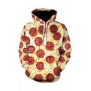 Cozy Mens 3D Hoodie Pizza Sausage Cheese Pattern Drawstring Full Sleeve Regular Fitted Hooded Sweatshirt with Pocket