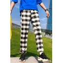 Fashion Retro Classic Plaid Pattern Drawstring Waist Men's Straight Casual Pants