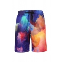 Guys Popular Drawstring Waist Oil Painting Straight Shorts in Blue