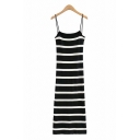 Chic Girls Stripe Printed Spaghetti Straps Mid A-line Knit Slip Dress in Black