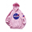 Hot Fashion Letter Logo NASA Printed Long Sleeve Unisex Loose Fitted Hoodie