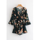 Basic Womens Rompers Crane Flower Printed Self Belted A-Line 3/4 Flared Cuff Sleeve Surplice Neck Loose Fitted Rompers
