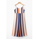Womens Jumpsuits Creative Vertical Striped Printed Front Button Detail Strap Loose Fitted Sleeveless Long Jumpsuits