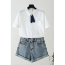 Basic Womens White Short Sleeve Turn Down Collar Tied Button Up Chest Pocket Relaxed Shirt Top