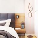 8-Shaped Living Room Floor Lighting Metallic Minimalist LED Floor Standing Lamp in Coffee, Warm/White Light