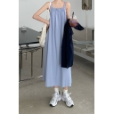 Blue Pop Womens Solid Color Backless Stringy Selvedge Pleated Square Neck Straps Sleeveless Oversized Maxi Slip Dress