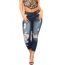 Womens Jeans Fashionable Medium Wash Ripped Frayed Hem Stretch Mention Hip Zipper Fly Cropped Slim Fit Tapered Jeans