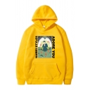 Street Boys Letter Adore You Cartoon Graphic Long Sleeve Relaxed Fitted Hoodie with Pocket