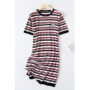 Stylish Womens Fish Embroidered Stripe Printed Short Sleeve Crew Neck Knit Mid Shift T Shirt Dress in Red