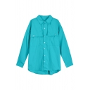 Designer Womens Plain Long Sleeve Spread Collar Button Up Flap Pockets Long Loose Fit Shirt Top