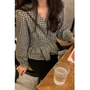 Womens Popular Checkered Printed Long Sleeve V-neck Button Up Ruffled Regular Fit Shirt Top in Black