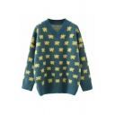 Womens Trendy All Over Flower Printed Long Sleeve V-neck Knit Relaxed Pullover Sweater