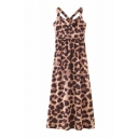 Popular Girls Leopard Printed Surplice Neck Mid Pleated A-line Tank Dress in Coffee