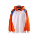 Classic Mens Hoodie Colorblock Knitted Trim Drawstring Long Sleeve Relaxed Fitted Hoodie