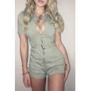 Womens Fancy Rompers Plain Collar Zip Placket Chest Pocket Button Detail Short Sleeve Short Rompers with Belt