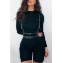Fashion Rompers Solid Color Long-sleeved Crew Neck Skinny Seamless Zipper Rompers for Women