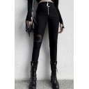 Womens Fancy Trousers Crescent Moon Pattern See-through Patchwork Zip Closure High-rise Full Length Skinny Black Trousers