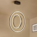Hoop Metal Down Lighting Modern Style Dark Coffee LED Multiple Lamp Pendant in Warm/White Light