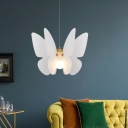 Contemporary Butterfly Ceiling Light Acrylic 1 Bulb Dining Room Pendant Lighting Fixture in White